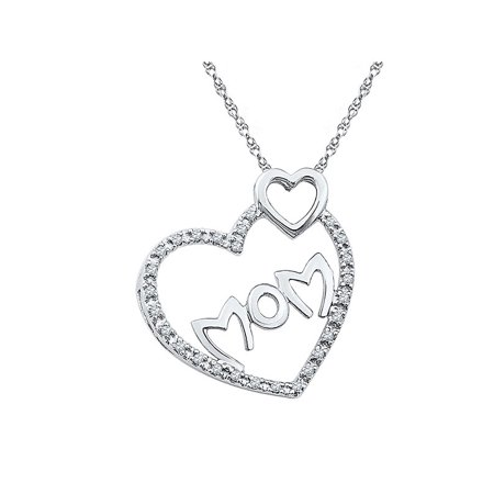 2c316a7b0ec333 Sterling Silver Womens Round Diamond Mom Mother Double Heart Pendant 1/10  Cttw - Walmart.com