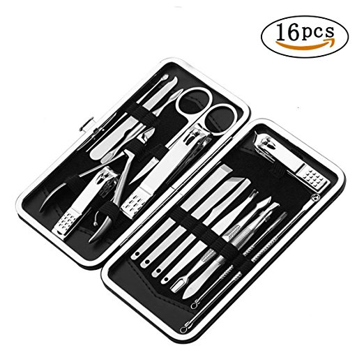 BOEHNER 16-in-1 Manicure Pedicure Set Nail Clippers, Professional Stainless Steel Grooming Kit with Travel Case