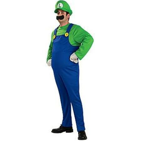 Super Mario Bros Deluxe Luigi Costume Adult Small](Mario And Luigi Halloween Costumes Womens)