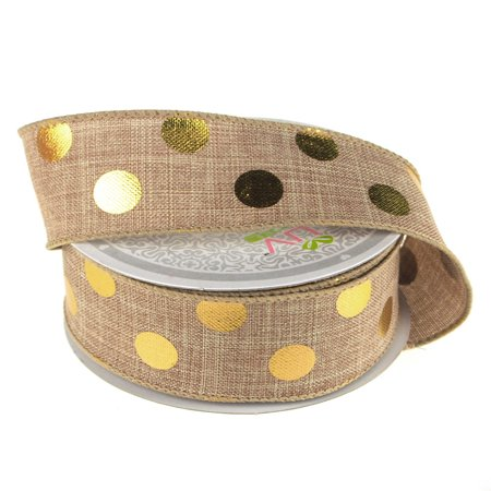 Gold Dot Wire - Metallic Dots Wired Canvas Ribbon, 1-1/2-Inch, 10 Yards, Toffee/Gold