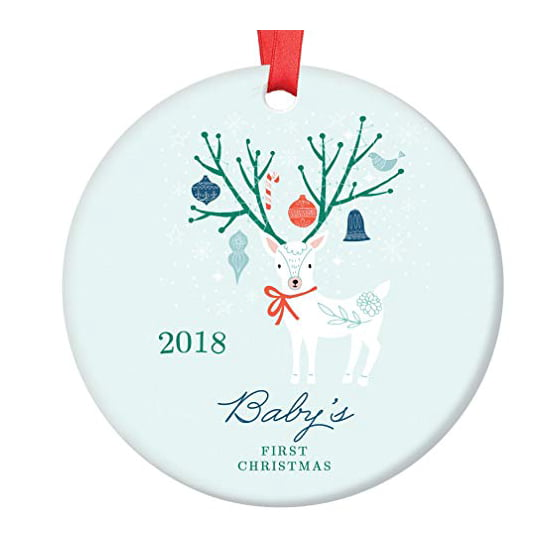 """Winter Deer Baby's First Christmas Ornament 2018, Boy Baby 1st Christmas Porcelain Ornament, 3"""" Flat Circle Christmas Ornament with Glossy Glaze, ..."""