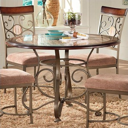Steve silver company thompson round dining table in metal for Al amwaj furniture decoration factory