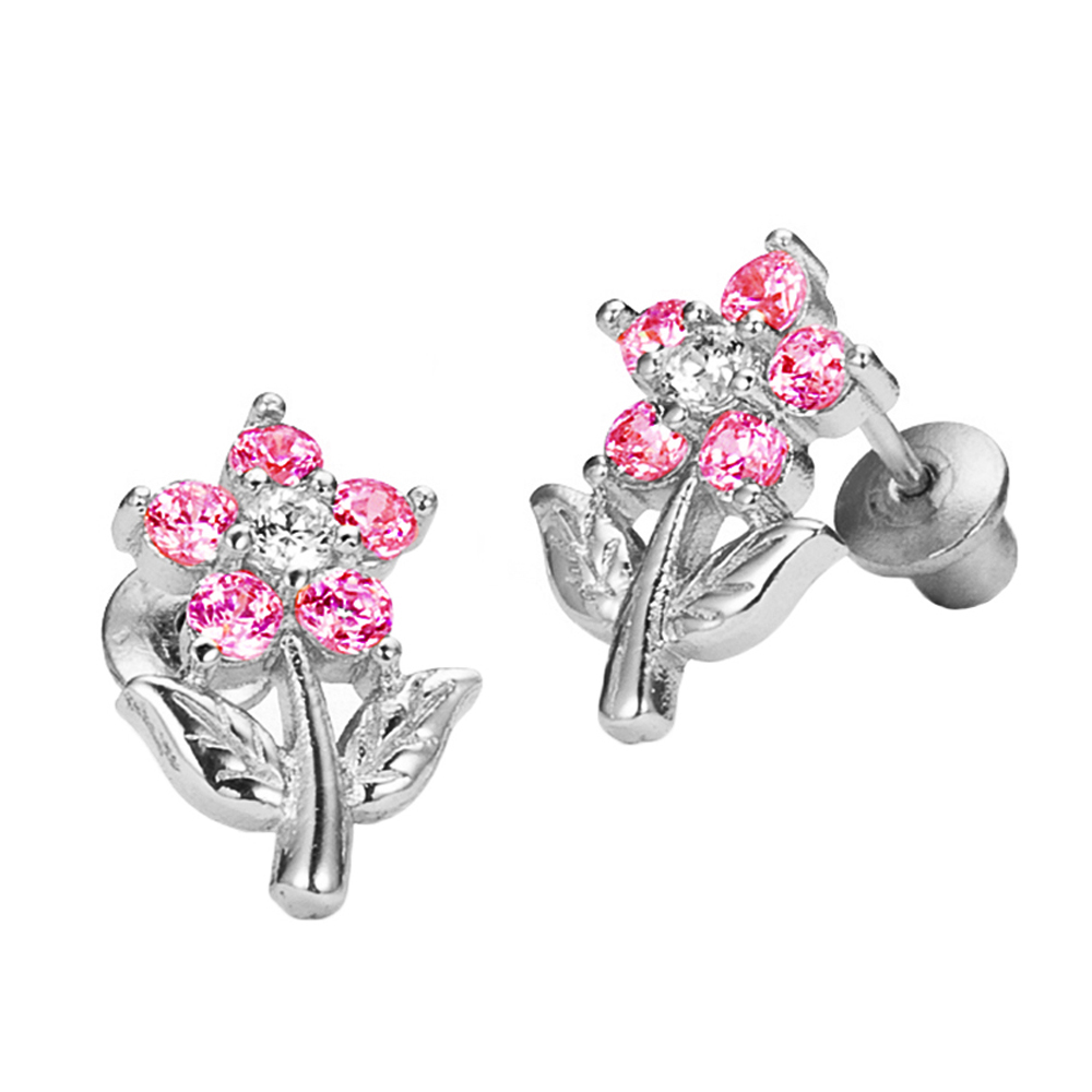 Sterling Silver Rhodium Plated Pink Flower Cubic Zirconia Screwback Baby Girls Earrings