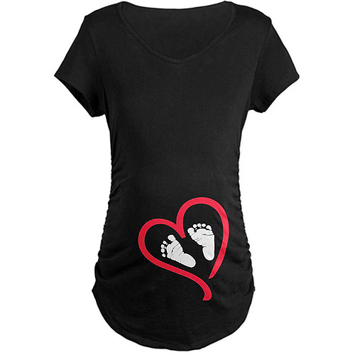 Cafepress Maternity Baby Feet Heart Graphic Tee