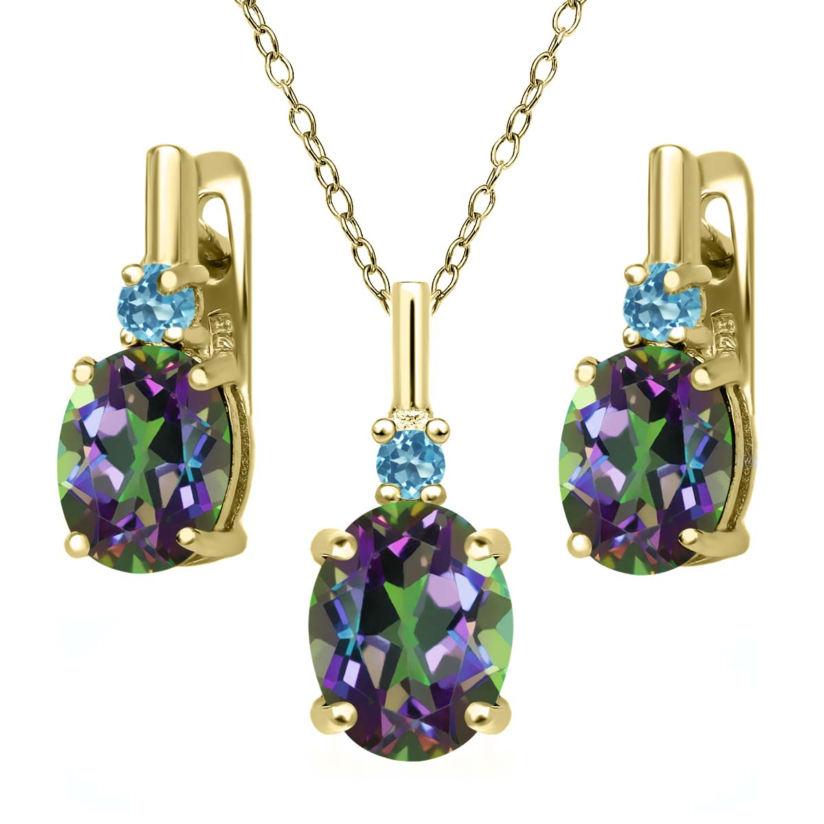 6.98 Ct Green Mystic Topaz 18K Yellow Gold Plated Silver Pendant Earrings Set by