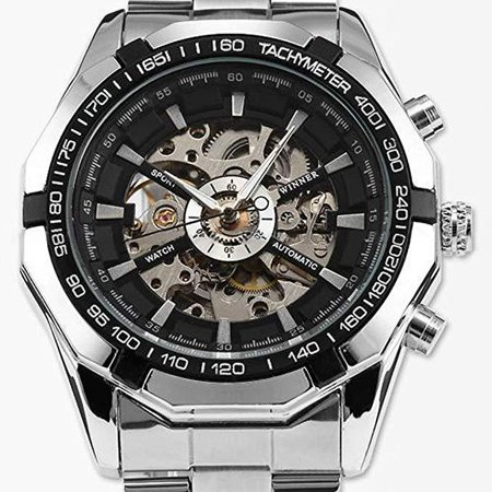 Cool Watches For Men Skeleton Automatic Mechanical Sport Wrist Watch with Stainless Steel Band - Skeleton Wrist