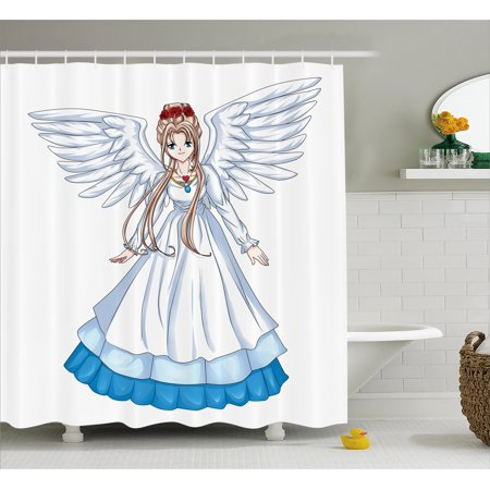 Anime Shower Curtain Cartoon Ilration Of Cute Angel Wings And Flowers Fairytale Anese Manga Print