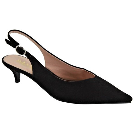 Stiletto Heel Slingback Pumps - Sela-8 Pointed Pointy Toe Slingback Kitten Low Heel Pumps Black
