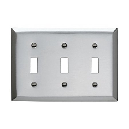 Pass and Seymour SS3 Non-Magnetic Stainless Steel Three Gang Toggle Light Switch Wall