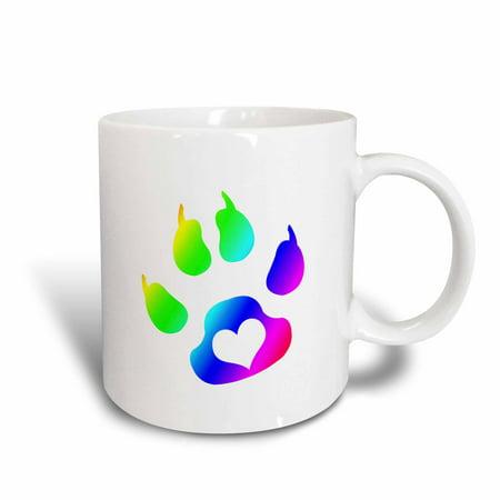 Paw Print Ceramic Dish (3dRose Cats Paw Print With Heart Rainbow, Ceramic Mug, 11-ounce )