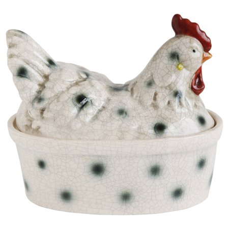 3R Studios Stoneware Rooster Shaped Canister