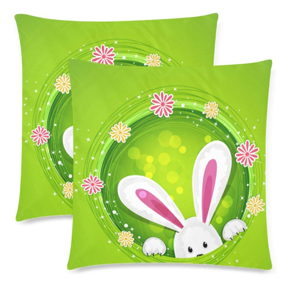 Raz 18 Colorful Bunny Easter Pillow: ARTJIA Rabbit Pillow Case Cover 18x18 Inches, Happy Easter