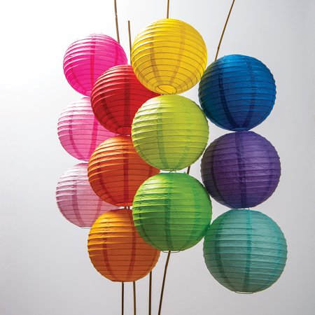 Paper Lanterns (8-Inch, Parallel Style Ribbed, Multicolor, Set of 12) ()