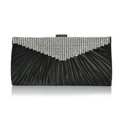 Black Satin Evening Clutch Sparkling Clear Rhinestones and Ruching Detail Chain