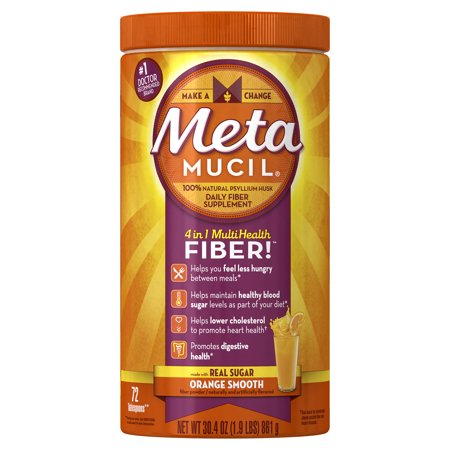 Metamucil Multi-Health Psyllium Fiber Supplement Powder with Real Sugar, Orange Flavored, 72 Servings