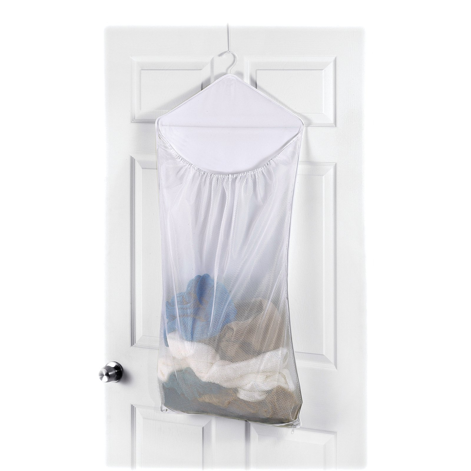 Beau Whitmor Dura Clean Over The Door Hanging Laundry Hamper White