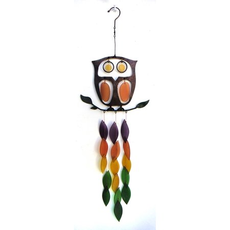 Glass Retro Owl Wind Chime, Glass and metal Retro Owl wind chime Indoor and Outdoor décor By Blue Handworks Ship from US](Owl Wind Chimes)