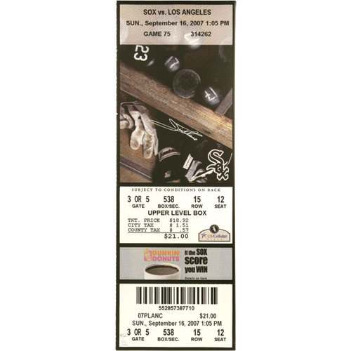 MLB - Jim Thome Chicago White Sox - 500th HR Game Sept 16th 2007 - Autographed Mega Ticket