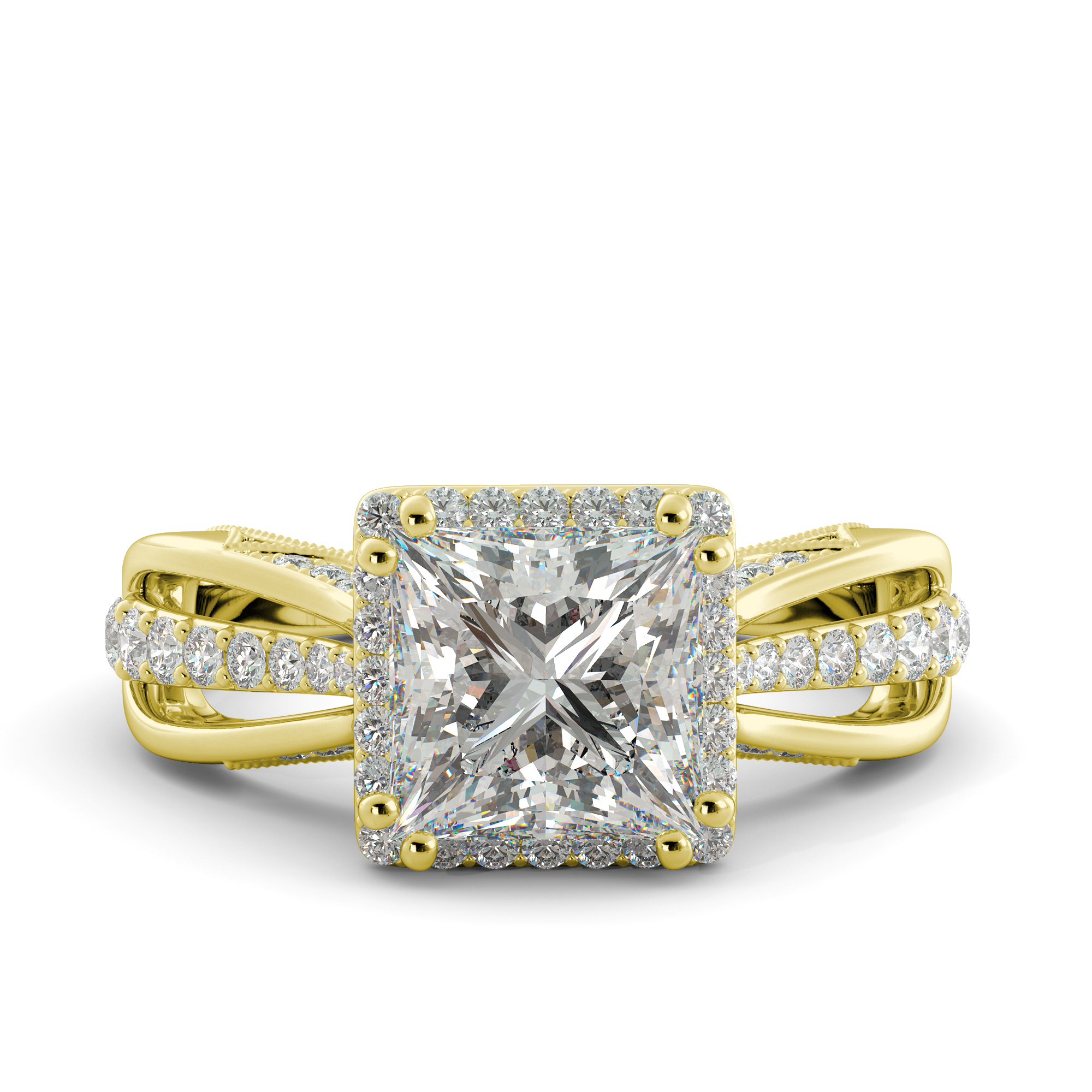 3.25 ct Princess Brilliant Moissanite & Diamond Solitaire Engagement Ring 14k Yellow Gold by J&H Jewelers