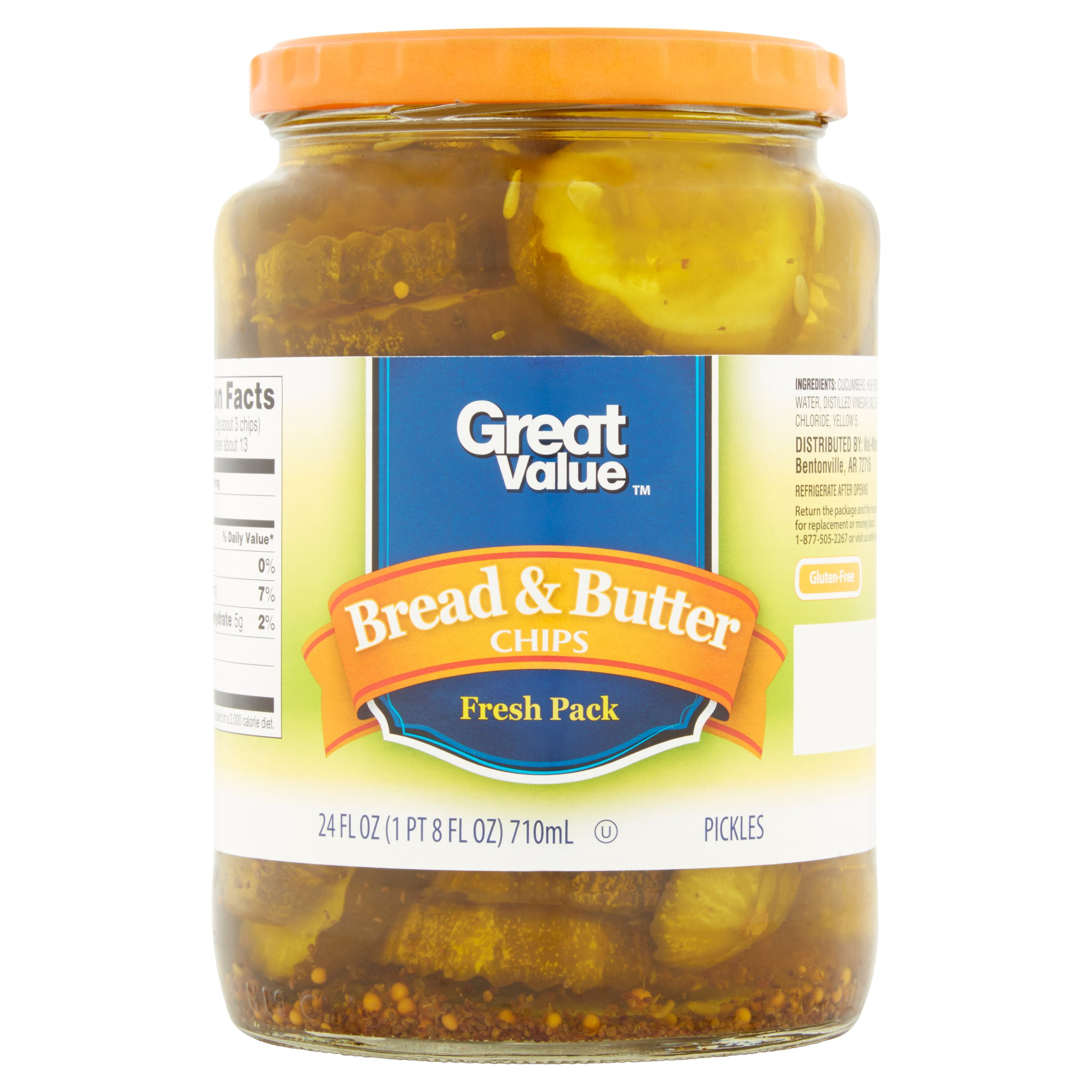 Great Value Bread & Butter Chips Pickles, 24 oz