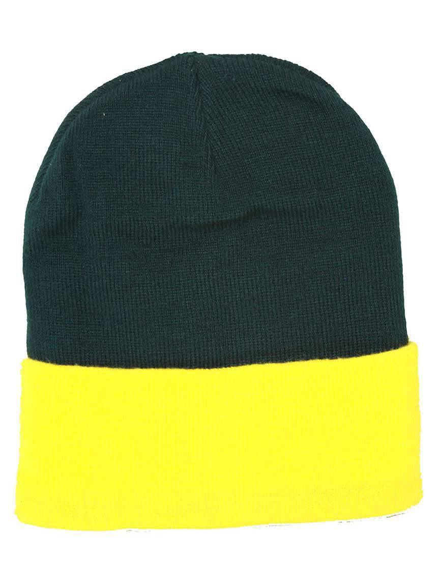 TopHeadwear s Winter Cuffed Beanie Cap Two Toned - Green Yellow 0b27c4efec3