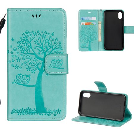 iPhone X Case, iPhone XS 2018 Wallet case, Allytech Pretty Retro Embossed Owl Flower Tree Design PU Leather Book Style Wallet Flip Case Cover for Apple iPhone X/ XS/ iPhone 10,