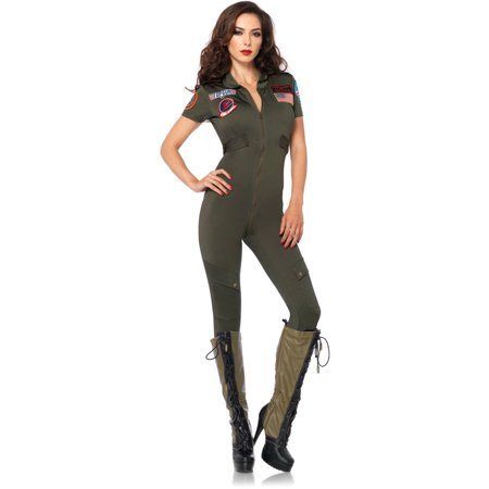 Leg Avenue Top Gun Adult's Flight Suit Adult Halloween - Top Gun Halloween Costume With Helmet
