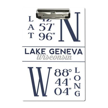 Lake Geneva, Wisconsin - Latitude & Longitude - Lantern Press Artwork (Acrylic Clipboard)