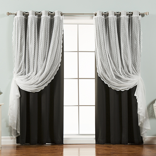 Black Lace and Solid 52 x 96 In. Blackout Window Treatments, Set of Four by