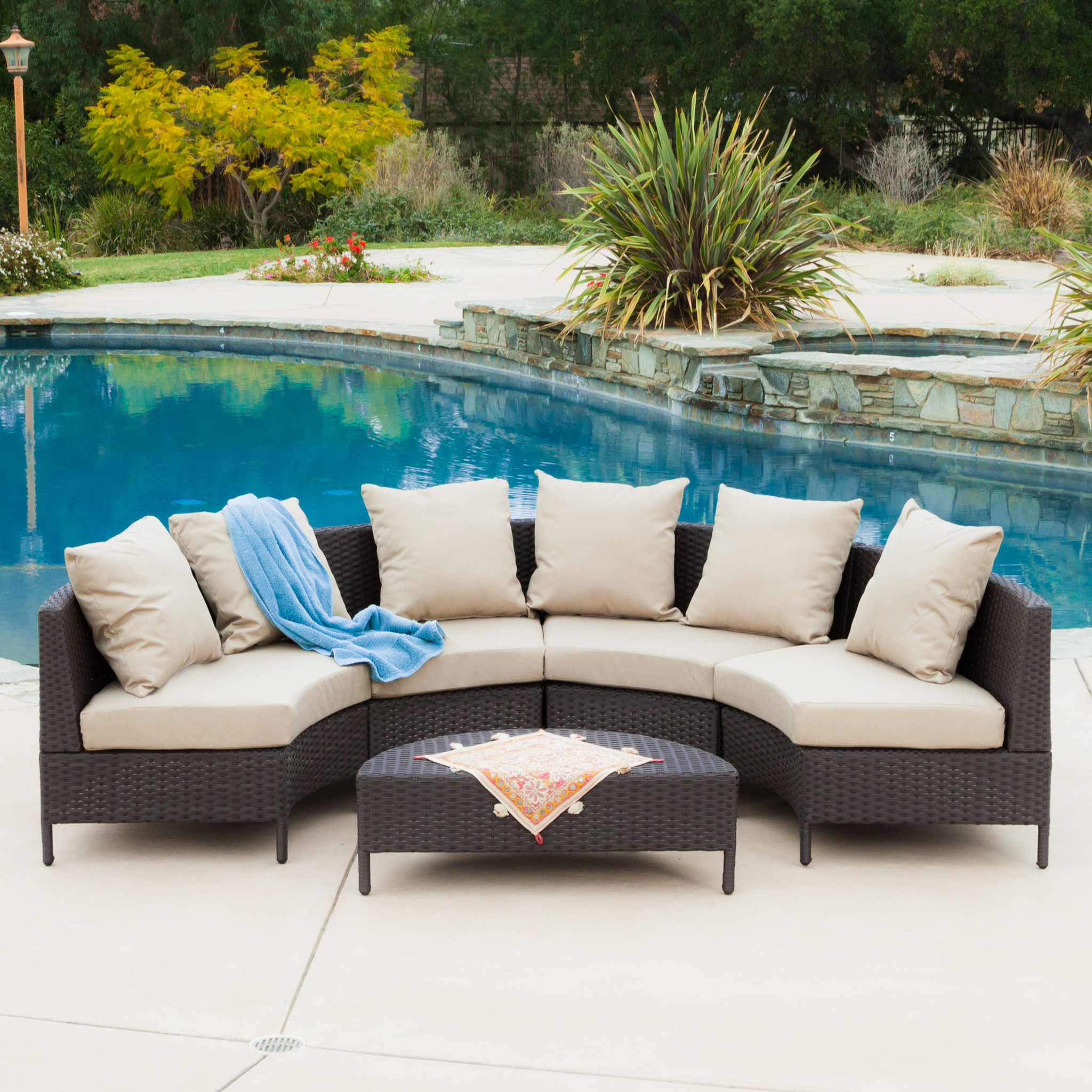 Miggy Outdoor 5-piece Dark Brown Wicker Lounge Set by NFusion
