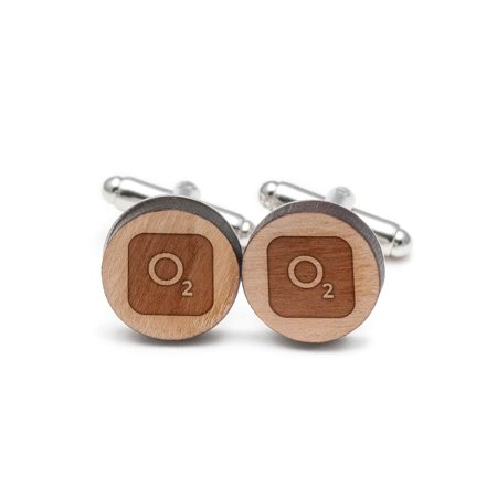 Symbol Cufflinks Cufflinks - Oxygen Symbol Cufflinks, Wood Cufflinks Hand Made in the USA