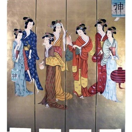 Oriental Golden 4 Panels Screen Room Divider (Beauties) - Oriental Screen
