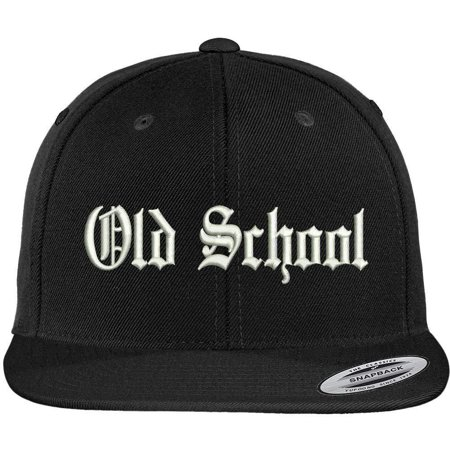 Trendy Apparel Shop Old School Old English Embroidered Flat Brim Classic Snapback Cap Old School Vintage Hat