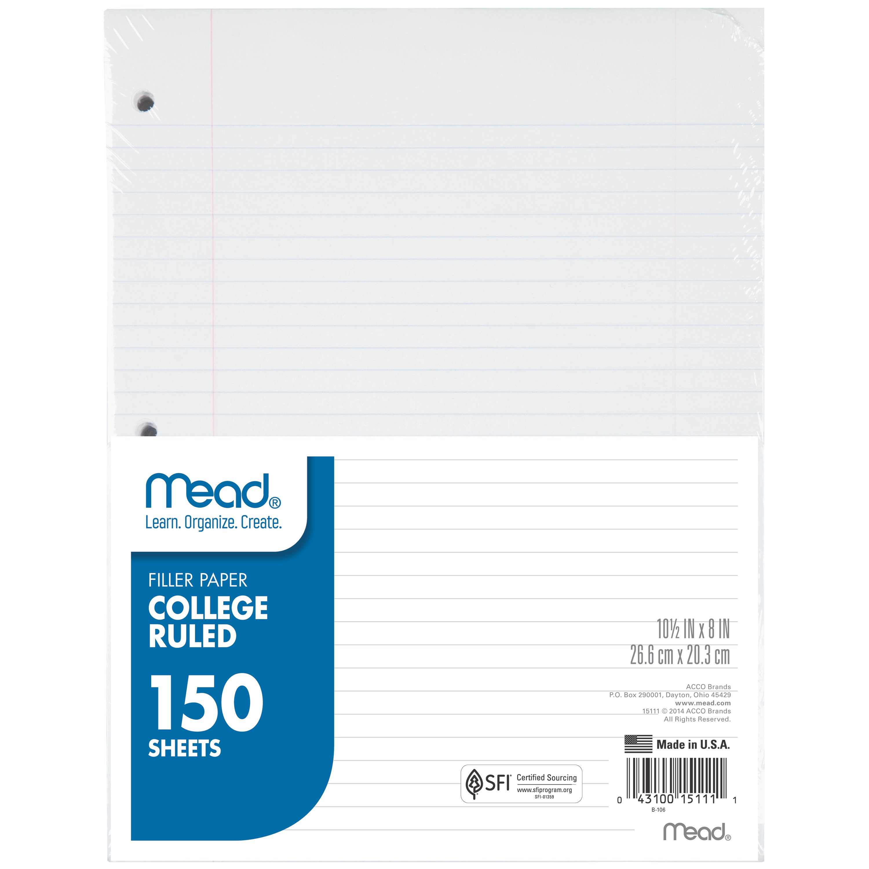 Mead Filler Paper, Loose Leaf Paper, College Ruled, 150 Sheets/Pack (15111)
