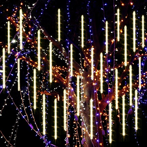 Meteor Shower Rain Lights Waterproof String for Wedding Party Christmas Xmas Decoration Tree Party Garden String Light Outdoor 10FT 8 Tube 144 led Lamp beads (Warm White) B075FKP9XZ