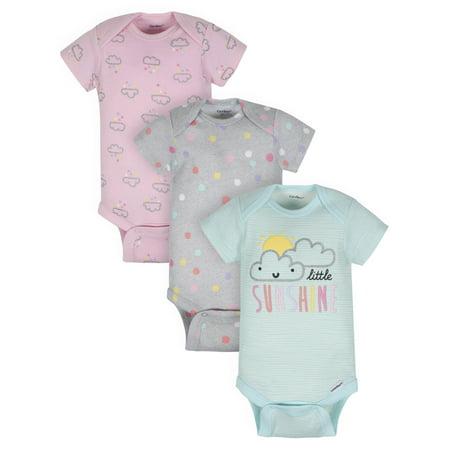 Organic Cotton Short Sleeve Onesies Bodysuits, 3Pk (Baby Girl), Preemie, Clouds