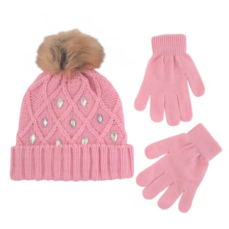 Little Girls Cuffed Beanie and Gloves Cold Weather Set, Age 4-7