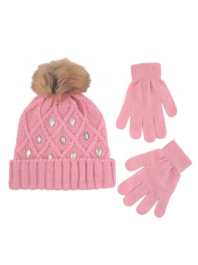 afbadc42dfa Product Image Little Girls Cuffed Beanie and Gloves Cold Weather Set