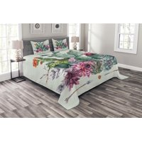 Cactus Bedspread Set, Spring Garden with Boho Style Bouquet of Thorny Plants Blossoms Arrows Feathers, Decorative Quilted Coverlet Set with Pillow Shams Included, Multicolor, by Ambesonne