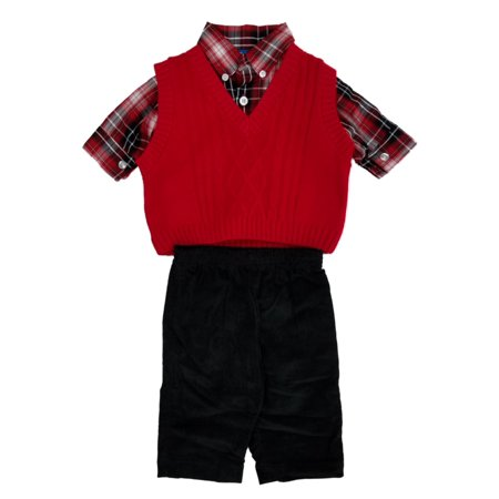 f54c5d8a4 Infant   Toddler Boys 3pc Red Sweater Vest Plaid Shirt   Black ...