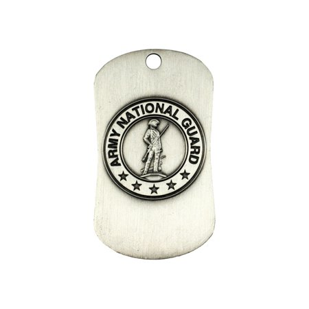 National Guard Antique Finish Dog Tag Necklace-Joshua 1:9 (Army National Guard Jewelry)