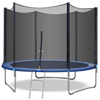 10FT Kids Trampoline w/Safety Enclosure Net, Spring Pad, Ladder , Heavy Duty Steel Frame, Waterproof Jump Mat, Jump Trampoline for Indoor/Outdoor, Backyard Trampoline, Great Gifts for Kids