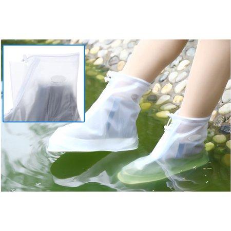Waterproof Shoes Cover Reusable Rain Snow Boots Wear-resistant Slip-Resistant Overshoes Covers for Men & Women Color:White Size:XXL - image 3 de 8