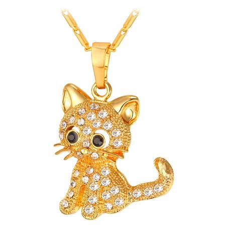 U7 Fashion Jewelry 18K Gold Plated Rhinestone Crystal Kitty Cat Pendant Necklace