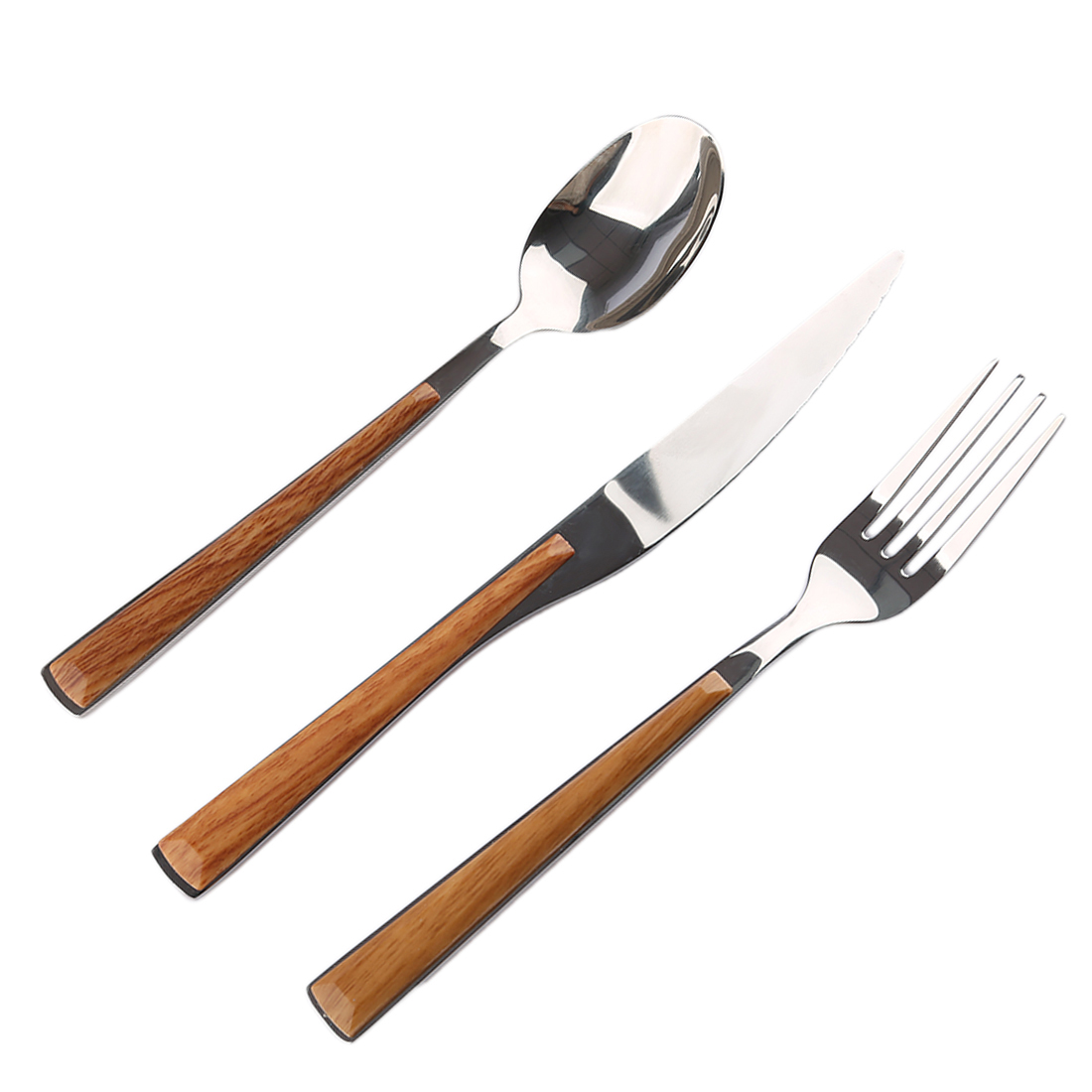 Imitation Wood Handle Stainless Steel Portable Tableware Dinnerware Travel Cutlery Set with Fork Spoon Knife - Burlywood