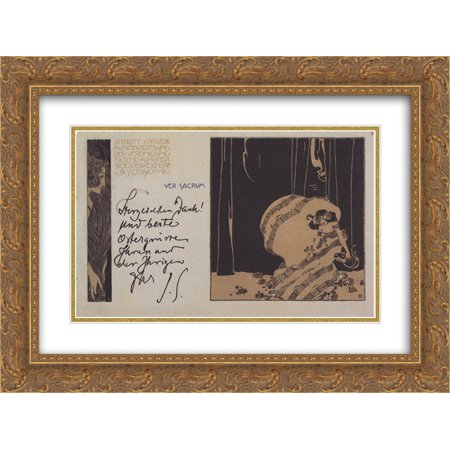 Matted Postcard (Koloman Moser 2x Matted 24x18 Gold Ornate Framed Art Print 'Ver Sacrum postcard nr. 12 I. Secessionausstellung with greeting line of the art historian Julius von Schlosser' )
