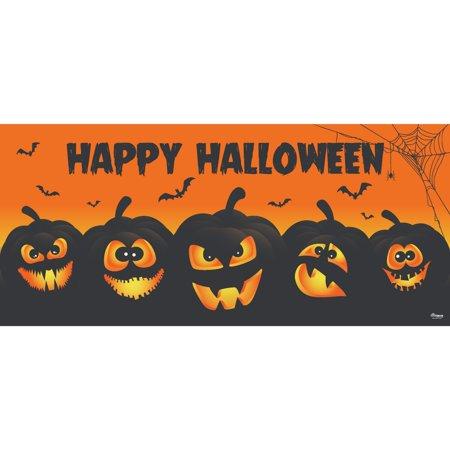 Double Door Halloween 2019 (7' x 16' Orange and Black Jack-O-Lanterns Halloween Double Car Garage Door)