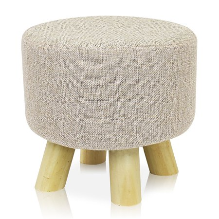 DL furniture - Round Ottoman Foot Stool, 4 Leg Stands Round Shape | Linen Fabric, Beige Cover