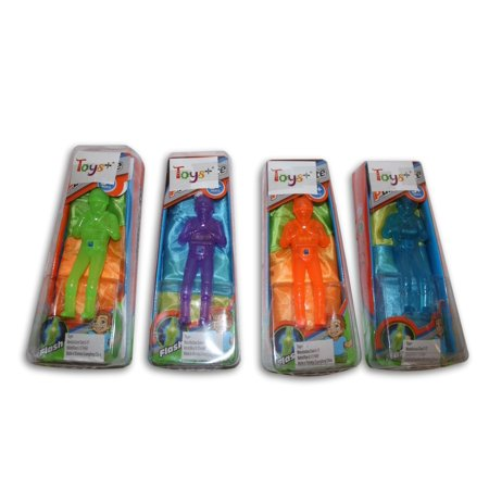 "Glow in the dark 4 Pack Tangle Free Light Up Toy Parachute Man with Large 20"" Parachutes! 4 Colors"