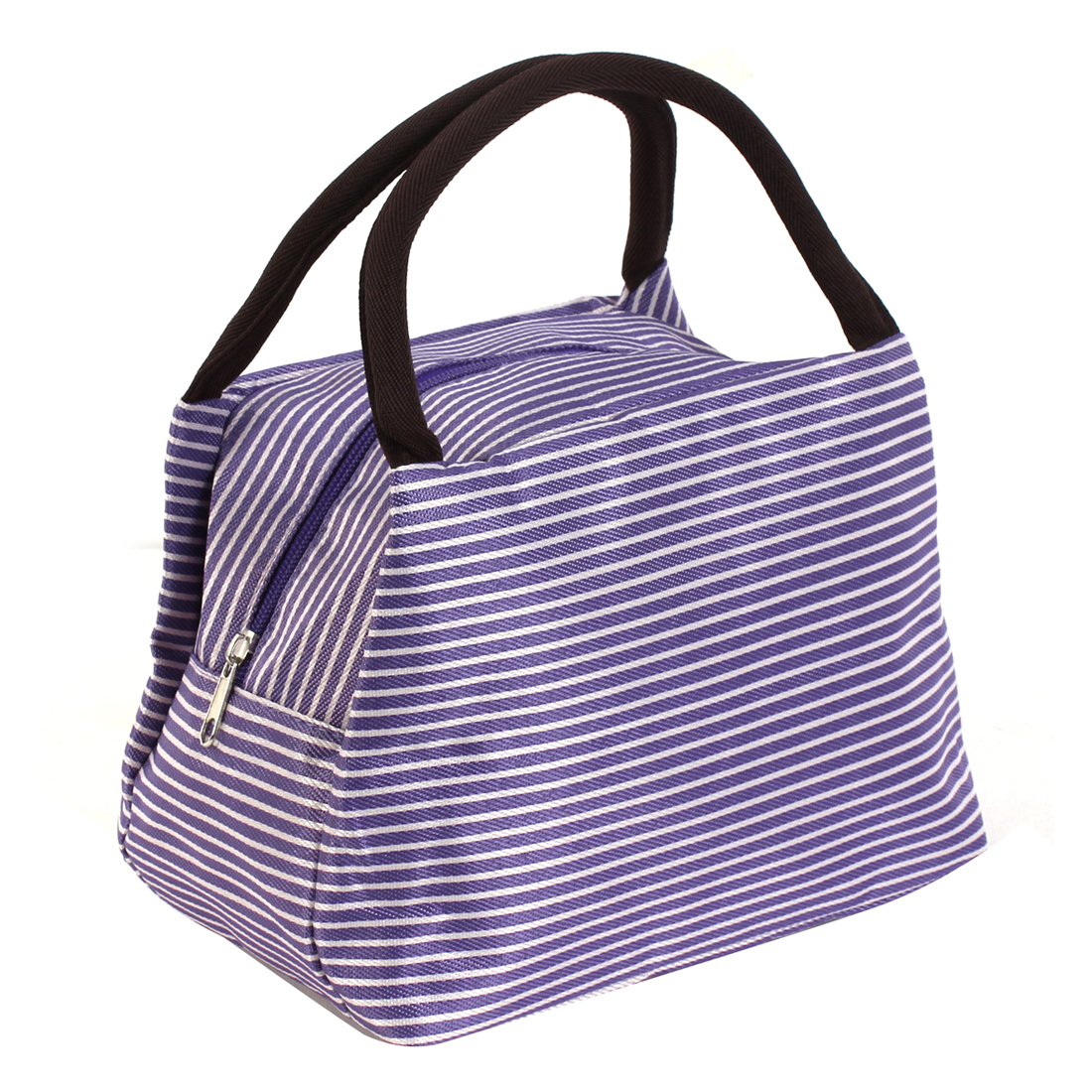 Lady Stripe Pattern Cosmetic Bag Makeup Pouch Holder Case Purple
